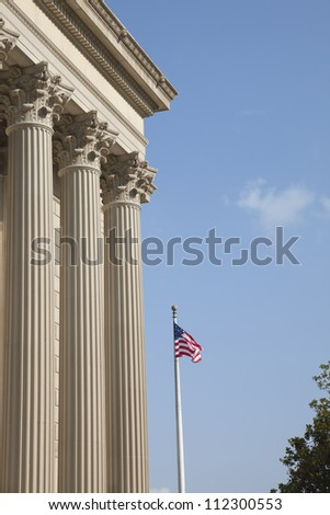 Side view of the National Archives in Washington DC