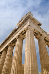 Side view of the ruins of the Parthenon, Acropolis, Athens, Greece