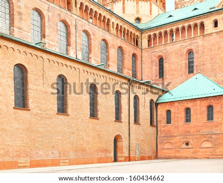Side view of the Speyer Cathedral in Speyer, Germany. The Cathedral is built and reconstructed several times between 1061 and 1858.