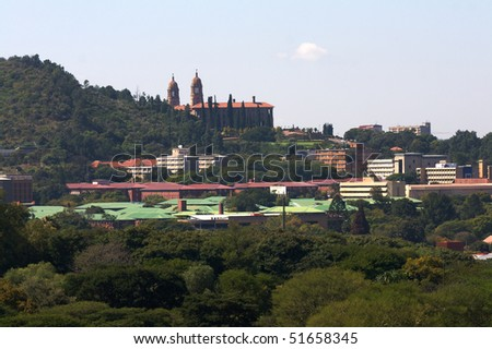 Side view of the Union building in Pretoria, seat of the South African coverment. - stock photo