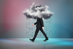 Side view of walking young businessman walking with abstract cloud on gradient background with binary code rain. Cloud computing concept
