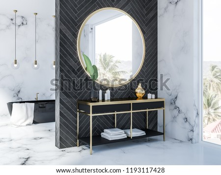 Side view of white marble and black wood bathroom interior with a black bathtub, a round mirror above a black vanity unit with creams and candles and, several ceiling lamps. Loft window 3d rendering
