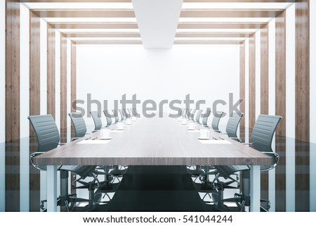 Side view of wooden table and chairs in modern conference room. 3D Rendering