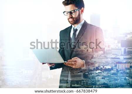 side view of young businessman...