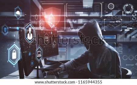 Side view of young hacker with digital business interface in blurry interior. Hacking and phishing concept. Double exposure  Stok fotoğraf ©
