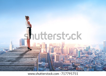 Side view of young woman standing on wooden pier and looking at abstract city with copy space. Rick concept