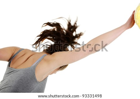 Side view of young woman with fists up punching something,  isolated on white