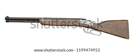 side view old gun toy on white background