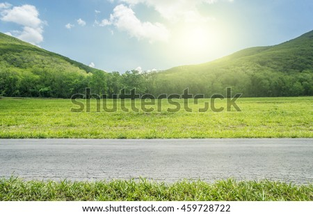 Side View on Country Road whit mountain. #459728722