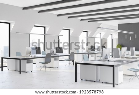 Side view on modern open space office with comfortable workplaces, computers, marble floor and light interior design. 3D rendering
