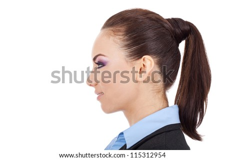 side view portrait of a beautiful young business woman smiling over white background - stock photo