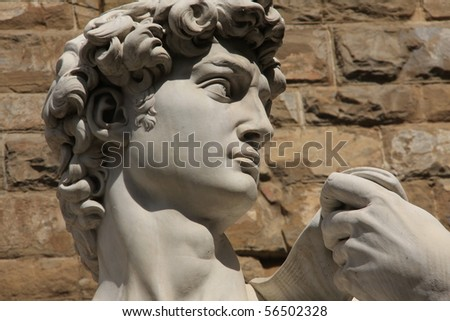 Side view portrait of a replica of Michelangelo's David statue