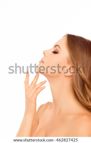 Side view portrait of beautiful sensitive woman touching her neck #462827425