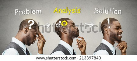 Side view profile sequence head shots thoughtful, thinking, finding solution young man with gear mechanism, question, exclamation sign illustration isolated grey background. Human face expressions