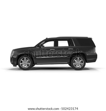 Side view SUV car isolated on a white. 3D illustration