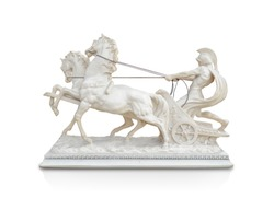 side view white Roman charioteer with two horses on white background,copy space