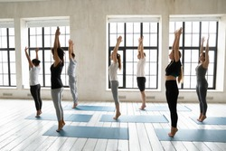 Side view young fit multiethnic diverse people standing barefoot on high toes with raised arms, starting doing surya namaskar stretching morning complex at yoga class in modern studio indoors.