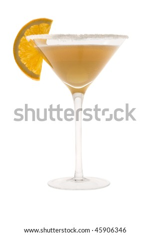 Sidecar mixed drink with orange slice garnish on white background