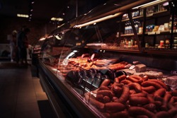 Sideview of a stylish butcher shop and its fridged counter with meat