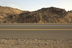 Sideview of roads along rocky desert