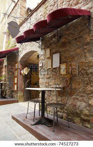 Sidewalk restaurant in Italy, Tuscany