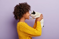 Sideways shot of cheerful Afro American woman plays with sweety black and white french bulldog puppy, touch small nose, likes animals, has playful mood, wears casual yellow jumper. Beloved pet