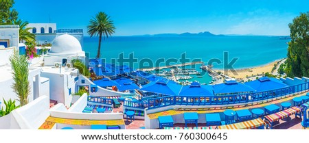 Sidi Bou Said is the scenic village, located on the hilltop and popular among tourists, visiting Tunisia. #760300645