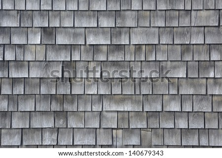 Siding Of Gray Wood Shingles With Low Environmental Impact