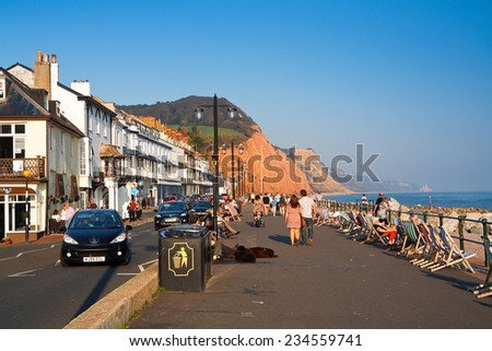 Sidmouth, UK - September 29 2011: Seafront in Sidmouth on a summer day, Devon, UK.