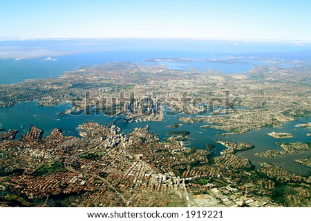 Sidney city aerial view
