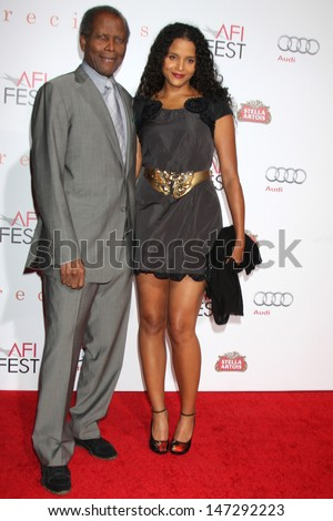 Sidney Poitier & Daughter Sydney Poitier arriving at the \