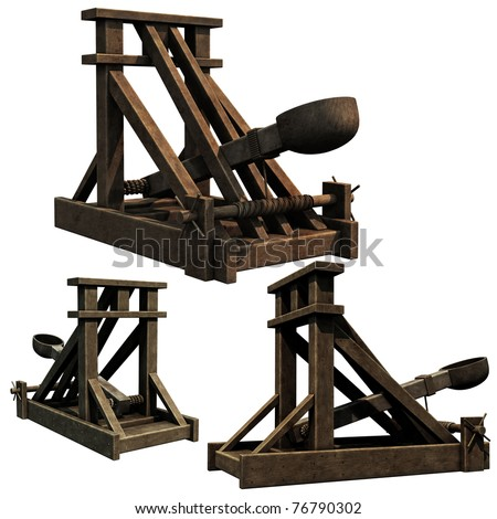 Siege Engine, 3d renders of a medieval catapult