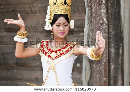 SIEM REAP,CAMBODIA- MARCH 04, 2012: The Culture Show of Cambodia in 2012 at Angkor Wat  MARCH 04,2012,unidentified women Khmer classical dancer in traditional costume in Siem Reap, Cambodia.Angkor Wat
