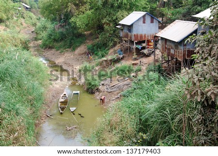 SIEM REAP CAMBODIA MARCH 25: Typical village on the Tonle Sap river on march 25 2013 in Siem Reao Cambodia. Tonle sap River is a combined lake and river system of major importance to Cambodia