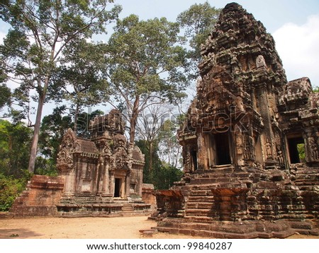 SIEM REAP-MARCH 22: Thommanon facade on March 22, 2012 in Siem Reap,Cambodia.Thommanon is one of a pair of Hindu temples built during the reign of Suryavarman II (from 1113-1150)