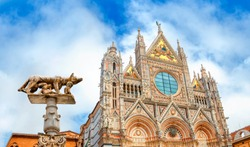 Siena Cathedral (Duomo di Siena) medieval church in Siena, Italy, now dedicated to the Assumption of Mary. Capitoline Wolf. Siena was founded by Senius and Aschius.