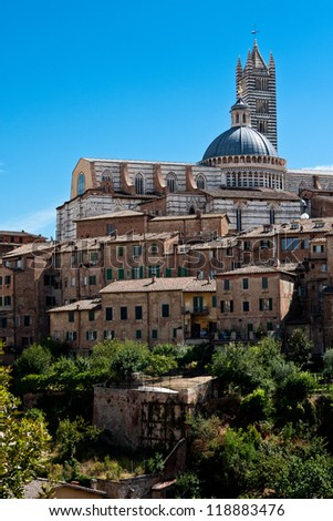 Siena cityscape with historic cathedral