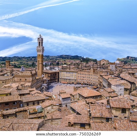 Shutterstock Siena downtown, Campo Square (Piazza del Campo) at sunset in Tuscany, Italy