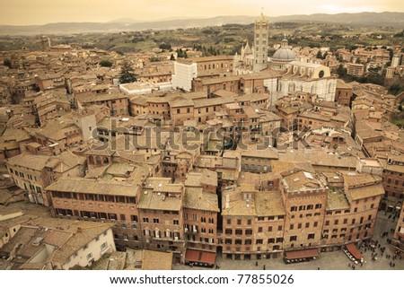 Siena skyline in Italy - Sepia Toned