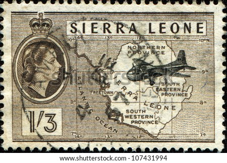 SIERRA LEONE - CIRCA 1956: A stamp printed in Sierra Leone shows Airplane & Map, circa 1956