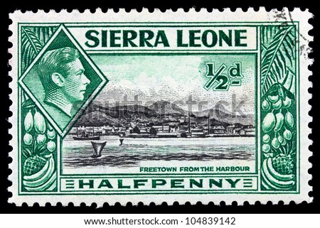"SIERRA LEONE - CIRCA 1940: Depicting city scene and an inset of King George VI, with inscription ""Freetown from the Harbour"", circa 1940"
