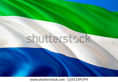 Sierra Leone flag. 3D Waving flag design. The national symbol of Sierra Leone, 3D rendering. National colors and National flag of Sierra Leone for a background. Sierra Leone sign on smooth silk