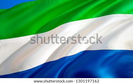 Sierra Leone flag. 3D Waving flag design. The national symbol of Sierra Leone, 3D rendering. National colors and National flag of Sierra Leone for a background. Sierra Leone sign on smooth silk