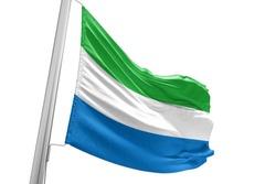 Sierra Leone national flag cloth fabric waving on white Background.