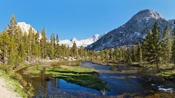 Sierra Nevada Scenery - Bubbs Creek in Kings Canyon National Park and Forester Pass in the Distance.