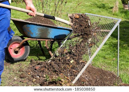 Sieving the composted earth
