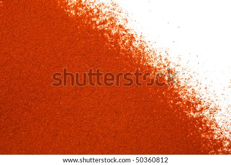Sifted ground paprika on white, room for copy.
