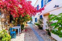 Sigacik Village street  view. Sigacik is populer tourist attraction in Turkey.