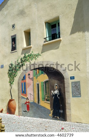 Sigean (Languedoc - Roussillon, France) - Trompe-l'oeil, a mural painting