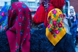 Sighetu Marmatiei, Romania: Maramures traditional costumes. Traditional Romanian peasant sandals which is worn with the Romanian peasant costume at Winter Customs and Traditions Marmatia Festival